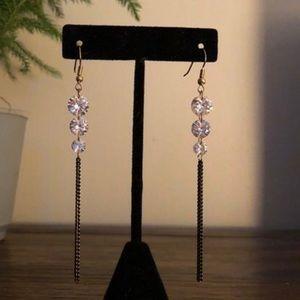 Clear Gem Dangle Earrings